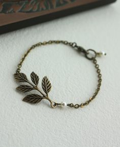 An Oxidized Brass Leaf Bracelet. Bridesmaids Bracelet. Gifts for Sisters. Vintage Wedding. Classic and Feminine. Autumn Inspired.