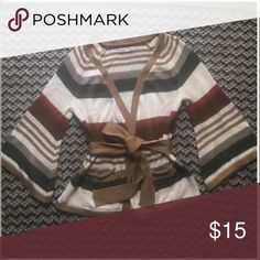 Bell Sleeve Cardigan Bell sleeve cardi in muted earth tones. Ties around waist, has pockets! Has the faintest pink stain toward the bottom edge (pictured) but it's nearly impossible to see unless you know it's there. Old Navy Sweaters Cardigans