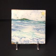 Watercolor & Ink Painting Ocean Ocean Art Alcohol by YakiArtist