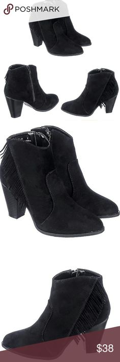 Size 9 Bamboo Fringe Booties JUST IN, Size 9 TRUE TO SIZE!! Hotttt Black Fringe Bamboo Booties!! Fringes that hang from the side give the boot an edgy yet sophisticated look. Match with light denim skinny jeans, with black leather jacket or fringe blazer for a stylish outfit! Shoes Heeled Boots