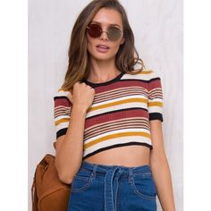 Minkpink Edie Knitted Crop Tee (88 AUD) ❤ liked on Polyvore featuring tops, t-shirts, cut-out crop tops, red tee, cropped tees, red top and crop t shirt