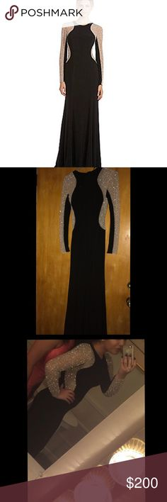 Xscape Long-Sleeved Studded Color Blocked Gown Black Gown with Beige Color Block and Silver Studs. Excellent Condition. No studs missing. Make me an offer! Xscape Dresses Long Sleeve