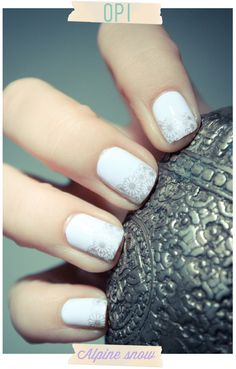 White polish with silver decals