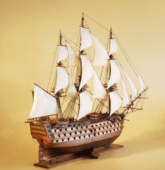 HMS Victory model ship starboard quarter wood hull, 50""