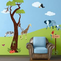 Jungle Wall Decals Stickers for Kid Room Jungle Safari Wall Mural - Personalized  - FREE SHIPPING (USA). $181.99, via Etsy.
