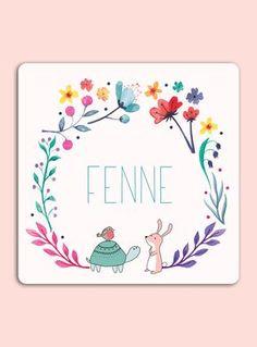 Kleurrijk geboortekaartje met aquarel en bloemen. #bloemen #aquarel #geboortekaartje #schildpad #roodborstje #konijn