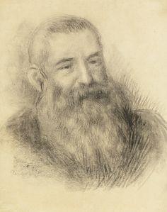 Pierre-Auguste Renoir 1841 - 1919 PORTRAIT DE CLAUDE MONET signed Renoir (lower left) charcoal on paper 52 by 41cm. 20 1/2 by 16in. Drawn circa 1890.