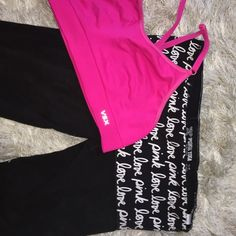 "VS/pink yoga bundle Victoria's Secret VSX ""sexy sport"" ""made sexy sports bra"" adjustable cross cross back, size medium but I would say fits more like a small; pink cropped yoga rights (fitted to the knee) size small; both in good used condition PINK Victoria's Secret Pants Leggings"