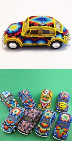 Huichol (Beaded) Hot Wheel VW Beetles
