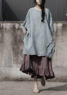 Women's T-shirt Vintage Linen O-neck Plus Size Half Sleeve for Spring Cotton Skirt, Ruffle Skirt, Plus Size Womens Clothing, Plus Size Fashion, Vintage Cotton, Vintage Linen, T Shirt Vintage, Elastic Waist Skirt, Long Blouse