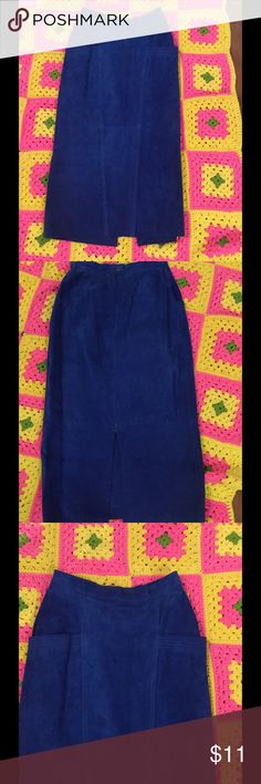 On the runway Suede Skirt skirt Royal Beautiful Blue suede skirt with 10.5in split in center of skirts back side pockets flat measurements length 32in..waist 12in..hips 19.5in..no stretch Skirts Maxi