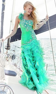 Unique Green One Shoulder Ruffled Dress by Blush at PromGirl.com
