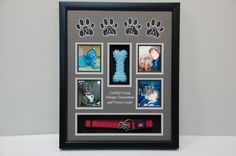 x Dog Memorial Shadow Box Frame Display. We mounted the Dog Collar and Nala's favorite chew toy. Paw prints were cut out and letters were scribed onto the black mat board.inside the paws. We also scribed a quote in silver between the photo openings. Dog Shadow Box, Shadow Box Frames, Shadow Box Display Case, Frame Display, Dog Memorial Tattoos, Cat Memorial, Pet Grave Markers, Pet Remembrance, Dog Scrapbook