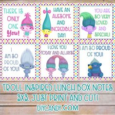 These Trolls printables lunchbox notes are inspired by the Dreamworks movie. Grab the free printable here and put a smile on your child's face!