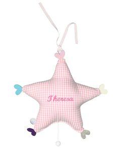 Stern Spieluhr (personalisierbar) rosa Vichy-Karo