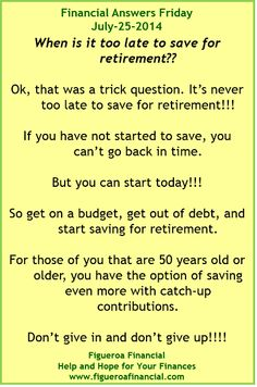 Welcome to Financial Answers Friday (Jul-25-2014)! #retirement