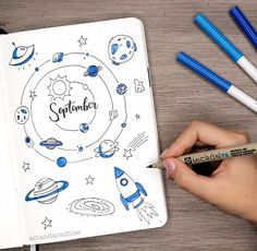 Been thinking about a space themed spread? Take a look at these 25 galaxy and space themed bujo spread to be inspired for your own bullet journal! Bullet Journal September, Doodle Bullet Journal, Bullet Journal 2020, Bullet Journal Notebook, Bullet Journal Inspo, Bullet Journal Spread, Bullet Journal Layout, Bullet Journal Ideas Pages, Bullet Journal Months