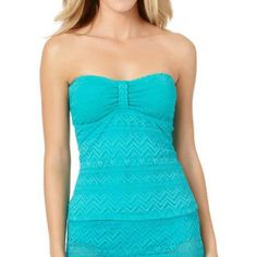 Catalina Missy Solid Crochet Bandini Top, Women's, Size: Medium, Blue