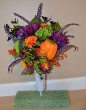Halloween Fall Autumn Cemetery Flower Headstone Vase Tombstone Grave Arrangement