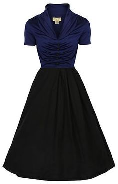 Short Sleeve Pin Up Dress in Blue