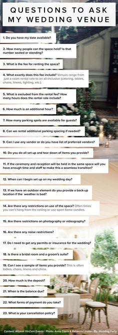 Wedding Checklist 23 questions to ask my wedding venue by Allyson VinZant Events. Wedding Planning Tips For Grooms Wedding Wishes, Wedding Bells, Wedding Reception, Wedding Venues, Wedding Coordinator, Destination Wedding, Wedding Services, Reception Food, Wedding Sparklers