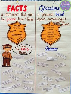 Fact & Opinion Anchor Chart (the strips used on the anchor chart can be downloaded for free!)