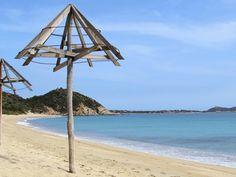 Villasimius beach, near Cagliari, South of Sardinia. Beautiful view, white sand and clear blue sea / Pláž Villasimius - juh Sardínie Strand, Wind Turbine, Sea, Traveling, Beautiful, Nice Asses, Viajes, The Ocean, Ocean