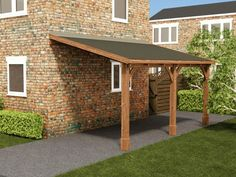Our wooden garages and carports are not only cheaper, they're built with high quality materials. Single, double garages and carports, we've got it all! Curved Pergola, Pergola Swing, Pergola Attached To House, Outdoor Pergola, Pergola Plans, Pergola Ideas, Pergola Kits, Attached Carport Ideas, Backyard Patio