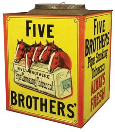 Buy online, view images and see past prices for Extremely Rare Five Brother's Pipe Tobacco Bin. Invaluable is the world's largest marketplace for art, antiques, and collectibles.