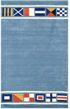 The American Home Rug Company Beach Nautical Flags Blue Rug