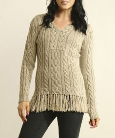 Take a look at this Cafe Au Lait Crocheted Fringe Tunic by Young Threads on #zulily today! Misses Clothing, Crochet Fringe, Hippie Chick, Cute Boots, Cable Knit, Dress Up, Tunic, Skinny Jeans, Glamour
