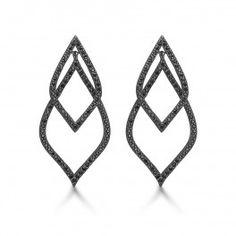 Kranz & Ziegler ørehænger mørk sølv med sorte sten.