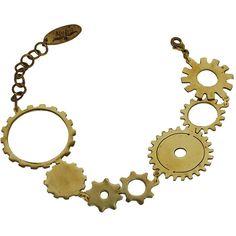 Monserat De Lucca Brass Gear Bracelet (£41) ❤ liked on Polyvore featuring jewelry, bracelets, steampunk, necklaces, adjustable bangle, steampunk jewelry, brass jewelry, brass bangles and monserat de lucca