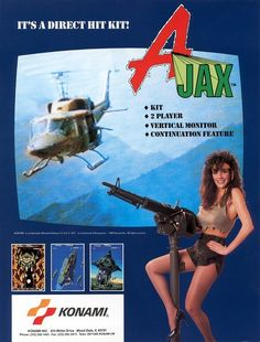 """Apparently """"chicks dressed like Rambo"""" was Konami's #1 arcade flyer promotional gimmick in the '80s (see also: Contra, Aliens, etc.)."""