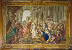 """Esther's Coronation by Jean-Francois de Troy.  Royal Collection Trust/ (c) Her Majesty Queen Elizabeth II 2014.  Creator: Gobelins Tapestry Factory (tapestry manufacturer) Creation Date: 1785 Materials: Woven silk and wool tapestry Dimensions: 425 x 609 cm RCIN 35280 Reference(s): Laking FR p97 Acquirer: George IV, King of the United Kingdom (1762-1830), when King of the United Kingdom (1820-30)  According to the Royal Collection Trust, """"This tapestry was sold during the revolutionary sales…"""