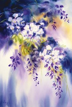Galerie daquarelles - Maryse De May Watercolor Landscape, Watercolour Painting, Watercolor Flowers, Painting & Drawing, Art Floral, Flower Art, Art Photography, Wisteria, Images