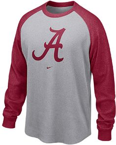 Alabama Crimson Tide Nike Adult Waffle Material Raglan Long Sleeve Top