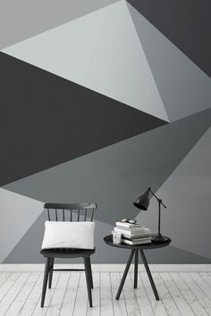 This super stylish geometric wall design encompasses sleek lines with a neutral yet beautiful palette of greys. It looks wonderful in living room spaces, and works harmoniously in interiors. Stone Wallpaper, Wall Wallpaper, Bedroom Wallpaper, Bedroom Art, Wallpaper Ideas, Green Wallpaper, Wallpaper Wallpapers, Deco Design, Wall Design