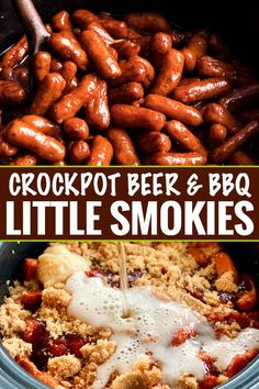 Always a crowd-pleaser, these Crockpot Little Smokies are slow cooked in a sauce made with beer, garlic, honey, brown sugar and bbq sauce. Perfect for game day, holidays, or any party! #littlesmokies #lilsmokies #partyfood #appetizer #recipe #easyrecipe #crockpot #slowcooker Smokies Bbq, Crockpot Lil Smokies, Bbq Little Smokies, Little Smokies Recipes, Crock Pot Appetizers, Quick Appetizers, Finger Food Appetizers, Appetizer Crockpot, Appetizers For Party