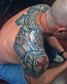 Progress shot of Bills armored back. #jamesdangerharvey #jdanger #tattoo