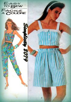 Vintage 1980s Girl's Sewing Pattern Pull On by mmmsvintagepatterns