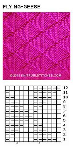 Only Knit and Purl The Effective Pictures We Offer You About knitting techniques fashion A quality picture can tell you many things. You can find the most beautiful pictures that can be Knit Purl Stitches, Knitting Stiches, Knitting Charts, Loom Knitting, Knitting Needles, Lace Knitting Patterns, Stitch Patterns, Flying Geese, How To Purl Knit
