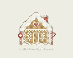 INSTANT Download - Gingerbread House - Machine Cross Stitch Design - Machine Embroidery Pattern - Holiday - Christmas - 4 x 4 Design