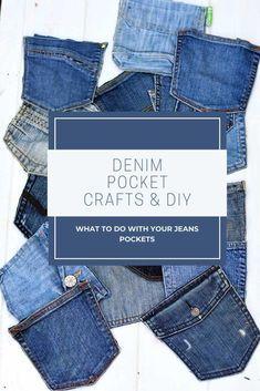Jean Crafts, Denim Crafts, Pocket Craft, Cut Out Jeans, Denim Ideas, Recycled Denim, Denim Bag, Creations, Leather Wallets