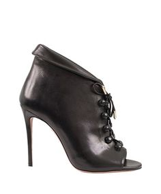 Aquazzura - Black leather open toe ankle boots
