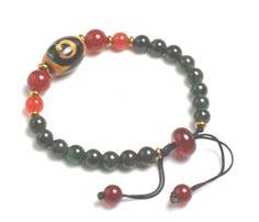 Élégant bouddhiste de jade vert foncé Bracelet, 3 Oeillets Dzi perles, 6 mm vert jade, réglables 6-8 cm - bracelet Dzi tibétain