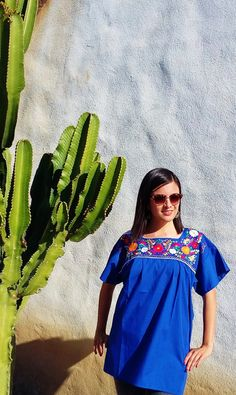 Authentic emboidered Mexican Blouse, Puebla - Dark Blue