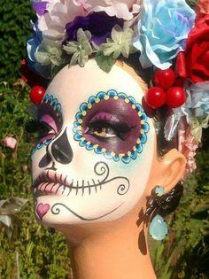 Dia de muertos-Mexico, cultura, tradicion - Calavera Catrina Day of the death Day Of Dead, Day Of The Dead Party, Maquillaje Sugar Skull, Helloween Party, Sugar Scull, Fantasy Make Up, Dead Makeup, Nose Makeup, Fantasy Makeup