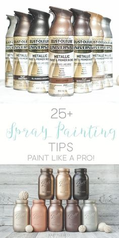 Spray painting tips. Learn how to spray paint like a pro! Spray painting tips. Learn how to spray paint like a pro! Mason Jar Projects, Mason Jar Crafts, Bottle Crafts, Diy Projects, Spray Paint Projects, Spray Paint Crafts, Spray Paint Furniture, Craft Paint, Best Gold Spray Paint