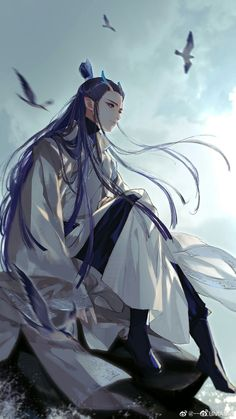 """""""Prince Ao Bing, the third son of the East Sea Dragon King Ao Guang of the Crystal Palace. Chinese Drawings, Chinese Art, Character Inspiration, Character Art, Character Design, Manga Anime, Anime Art, Fan Art, Image Manga"""
